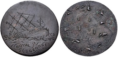 Lot 606: Great Britain. Hand engraved copper token. Ca. 1782. On the sinking of the Royal George. VF. Estimate: 150 USD.