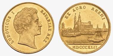 Los 706: Bayern, Königreich. Ludwig I., 1825-1848. Rheingold-Dukat 1842. Ausruf: 2.000 Euro. Zuschlag: 2.600 Euro.