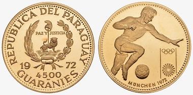 Los 1883: Paraguay. Alfredo Stroessner Matiauda, 1954-1989. 4.500 Guaranies 1972. PP. Ausruf: 1.200 Euro. Zuschlag: 6.400 Euro.