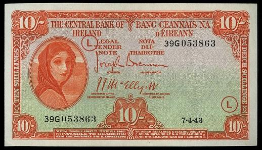Lot 200: British Banknotes, The Central Bank of Ireland, Ten Shillings, 7 April 1943, 39G 053863, code letter L, Brennan-McElligott signatures (LTN 21; Pick 1D). Good very fine. GBP 150-200.