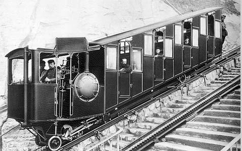 Pilatusbahn, Foto ca. 1890. Quelle: Wikipedia.