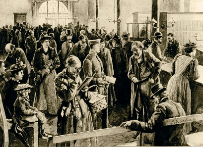 Schalterraum der Berliner Sparkasse im Mühlendammgebäude, nach einer Zeichnung von Albert Kiekebusch, 1894. © Historisches Archiv der Berliner Sparkasse.