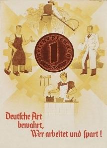 """Faltblatt """"Deutsche Art bewahrt, Wer arbeitet und spart!"""