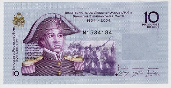 Banknote for 10 gourdes with portrait of Sanité Bélair. Issued by Haiti. 65 mm x 130 mm, 2004 © the Trustees of the British Museum.