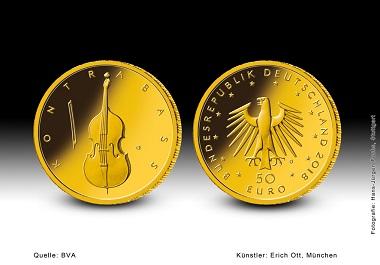 """Neu ist eine Goldmünzenserie zu 50 Euro. Die erste Münze der fünfteiligen Serie """"Musikinstrumente"""" ist der"""