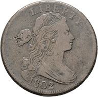 Lot 80: USA. Liberty, 1802. K22. MBC-. Starting price: 30 euros.