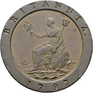 Lot 161: Great Britain. George III. 2 Pence 1797. K619. MBC+. Starting price: 20 euros.