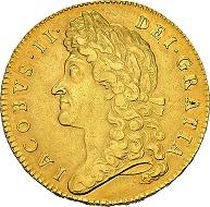Great Britain. James II, 1685-1688, 5 Guineas 1687, anno tertio, London. Very rare. Very fine.