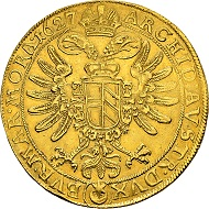 HRE. Ferdinand II, 1619-1637, since 1590 Duke of Carinthia and Styria. 10 dukats 1627, Prague. Very rare. Nearly extremely fine.