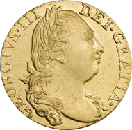 A gold coin issued by George III in 1776. George reigned for over forty years and left behind a lot of beautiful coins.