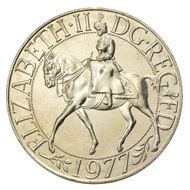 Coin that pictures Queen Elisabeth II riding a horse (1977).