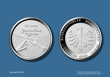 """Die neue 20-Euro-Silbergedenkmünze """"275 Jahre Gewandhausorchester"""". Quelle: BADV."""