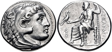 Lot 106: Kings of Macedon. Philip III Arrhidaios. Tetradrachm (in the name and types of Alexander III), circa 323-317 BC (struck under Antipater or Polyperchon), Pella mint. VF. From the Colin E. Pitchfork Collection. Estimate: $300.