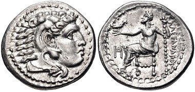Lot 68: Kings of Macedon. Alexander III 'the Great', 336-323 BC. Drachm, circa 325-323 BC (struck under Philoxenos), Miletos mint. EF. Estimate: $300.