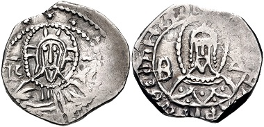 Lot 536: Manuel II Palaeologus, 1391-1425. Half Stavraton, Light (Class II) coinage, 1403-1425, imperial (Constantinople) mint. Good VF. From the Iconodule Collection. Estimate: $200.