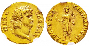 Lot 1: Aureus of Nero, on the reverse: AVGVSTVS GERMANICVS. Cal 402. NGC - XF. Starting at 5,500 euro.