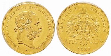 Lot 65: Austria, Franz Joseph, 4 Florins, 1889. PCGS AU58. Starting at 1,000 euro.