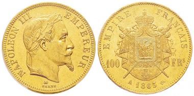 Lot 169: 100 Francs, Paris, 1865, PCGS MS62. Starting at 2,200 euro.