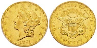 Lot 360: 20 Dollars, 1851, Philadephia, PCGS AU55. Starting at 2,000 euro.