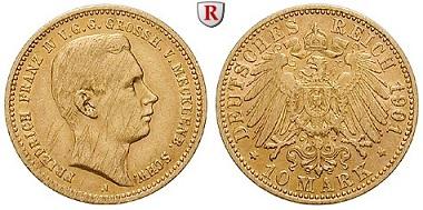 Deutsches Kaiserreich. Mecklenburg-Schwerin. Friedrich Franz IV. 10 Mark 1901 A. J. 233. ss. 1.750 Euro.