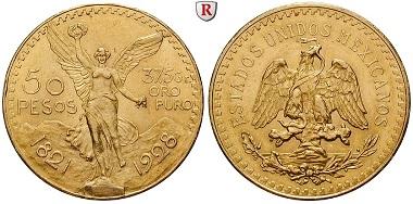 Mexiko, Vereinigte Staaten. 50 Pesos 1928. f. vz. 1.600 Euro.