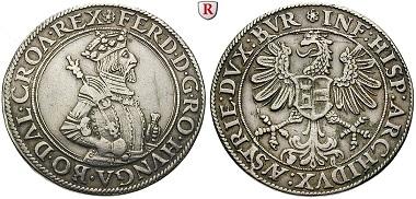 Römisch Deutsches Reich. Ferdinand I., 1521-1564. Taler o.J., Hall. Sog. Augsburger Walzentaler, posthum (1573-1576) geprägt. ss. 900 Euro.