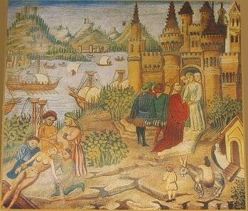 Die medizinische Schule von Salerno. Miniatur aus einem Buch des Avicenna.