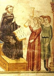 Constantinus Africanus examining urine. Medieval miniature.