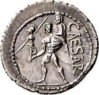 C. Julius Caesar, Denarius 48/47 B.C. Delicate toning, from new dies. Small edge chip, extremely fine. Ex Prof. Dr. Hildebrecht Hommel Collection.
