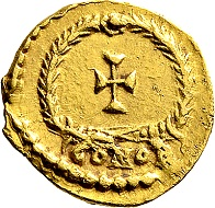Anthemius, 467-472. Tremissis, Rome. Very rare. Small scratch on the portrait, tiny cut on the obverse, very fine. Ex. Prof. Dr. Hildebrecht Hommel Collection.