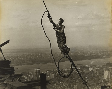 Workers on the Empire State Building by Lewis Wickes Hine. Gelatin silver print, c. 1930. Museum of Modern Art, New York City; Committee on Photography Fund; Digital image © The Museum of Modern Art / Licensed by SCALA / Art Resource, NY.