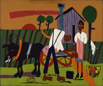 Farm Couple at Work by William Henry Johnson. Oil on paperboard, c. 1942-1944. Smithsonian American Art Museum, Washington, D.C.; gift of the Harmon Foundation.