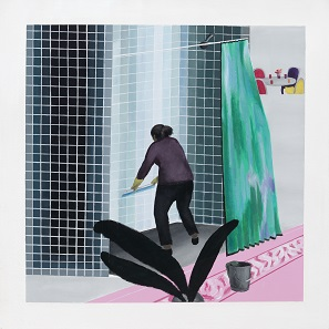 Woman Cleaning Shower in Beverly Hills (after David Hockney's Man Taking Shower in Beverly Hills, 1964) by Ramiro Gomez. Acrylic on canvas, 2013. Private collection © Ramiro Gomez.
