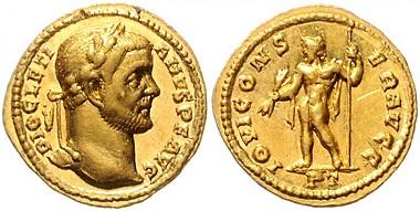 Los 748: Römisches Reich. Diokletian, 284-305. Aureus, 294-305, Treveri. Schätzpreis: 18.000 Euro.