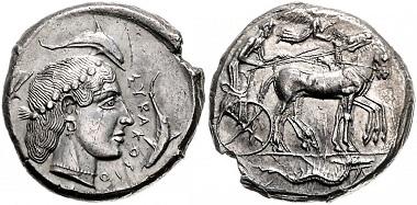 Los 32: Sizilien. Syrakus. Tetradrachme, 460-450 v. Chr. Schätzpreis: 3.700 Euro.