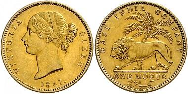 Los 1102: Indien. Victoria, 1837-1901. 1 Mohur 1841. Schätzpreis: 2.500 Euro.