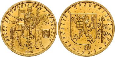 Los 1484: Tschechoslowakei, Republik (1918-1939). 10 Dukaten 1934. Schätzpreis: 13.800 Euro.
