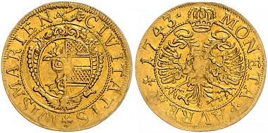 Los 2733: Wismar, Stadt. Frederik I. von Schweden, 1720-1751. Dukat 1743. Schätzpreis: 2.800 Euro.