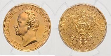 Los 3346: Sachsen-Weimar-Eisenach. Carl Alexander, 1853-1901. 20 Mark 1896 A. PCGS PR-63. Schätzpreis: 5.600 Euro.
