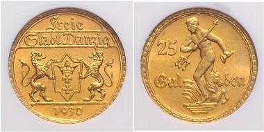 Los 3562: Danzig. Freie Stadt, 1920-1939. 25 Gulden 1930. NGC MS-65. Schätzpreis: 2.500 Euro.