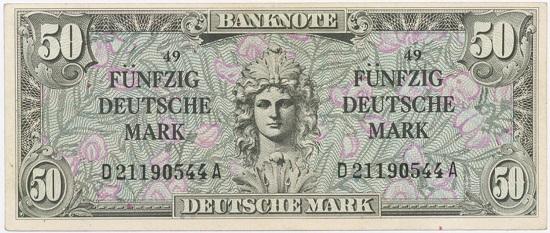 Los 4217: Noten der Bank Deutscher Länder. 50 Deutsche Mark o. D. (III). Schätzpreis: 2.000 Euro.
