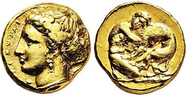 Los 41: Sizilien. Syrakus. Gold-100 Litren. 405-400 v. Chr. Taxe: 20.000 Euro.