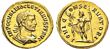 Los 836: Römisches Kaiserreich. Diocletianus. 284-305 n. Chr. Aureus. Taxe: 10.000 Euro.
