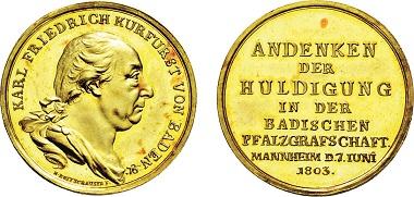 Los 2030: Kurfürstentum Baden. Karl Friedrich, 1803-1806. Rheingold-Medaille 1803. Taxe: 12.500 Euro.