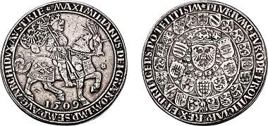 Los 2152: Habsburgische-Kron und Erblande. Maximilian I., 1493-1519. 3facher Schauguldiner 1509. Taxe: 14.000 Euro.