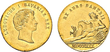 Los 2340: Königreich Bayern. Ludwig I., 1825-1848. Donaugold-Dukat 1830. Taxe: 7.000 Euro.