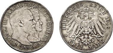 Los 2386: Königreich Bayern. Ludwig III., 1913-1918. 3 Mark 1918 D auf die Goldene Hochzeit. Taxe: 20.000 Euro.