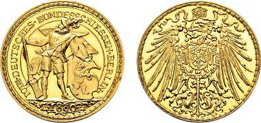 Los 3047: Berlin. Goldmedaille 1890 auf das X. Deutsche Bundesschießen. Taxe: 1.000 Euro.
