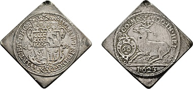 Los 3657: Herzogtum Württemberg-Weiltingen. Julius Friedrich. Klippe 1623 des Hirschguldens. Taxe: 5.250 Euro.