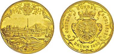 Los 3235: Brünn. 4 Dukaten 1892 auf das IV. Österreichische Bundesschießen. Taxe: 3.000 Euro.